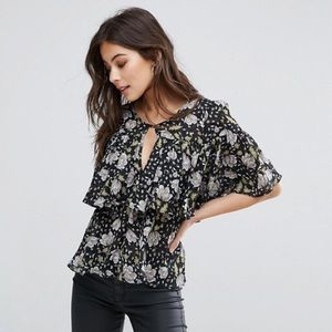 NWOT Fashion Union Floral Ruffle Top